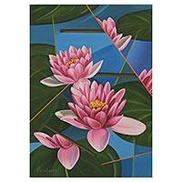 'Lotus Flower' - Signed Painting Pink Lotus Flowers Brazil Modern Art