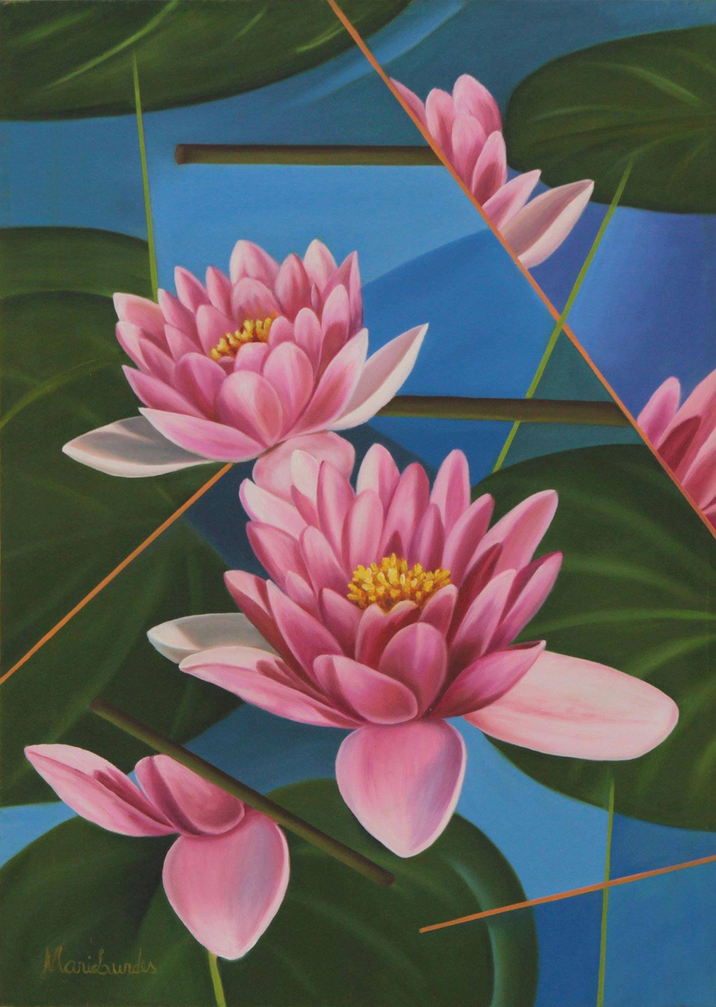 Signed Painting Pink Lotus Flowers Brazil Modern Art Lotus Flower