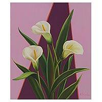 'Calla Lilies' - White Flowers on Lilac Painting Signed Brazilian Art