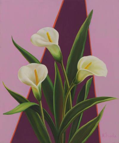 White Flowers on Lilac Painting Signed Brazilian Art - Calla Lilies ...