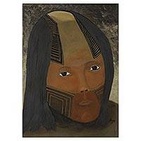 'Young Kaiapo Man' - Portrait of Young Amazonian Man Mixed Media Signed Painting