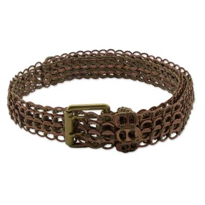 Soda pop-top belt, 'Brown Bronze Armor Chain Mail' - Eco Chic Artisan Crafted Soda Poptop Belt Bronze Brown