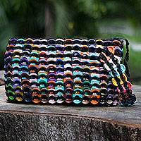 Soda pop-top wristlet bag, 'Rainbow Night Eco Chic' - Hand Crocheted Recycled Soda Pop-top Wristlet Bag