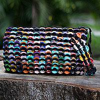 Soda pop-top wristlet bag, 'Rainbow Night Eco Chic'