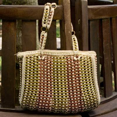 Soda pop-top shoulder bag, 'Golden Bronze Ipanema' - Soda Pop-top Shoulder Bag Crocheted by Hand in Brazil