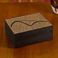 Wood tea box, 'Orange Sugarloaf Mountain' (6x5 inch) - Orange Pão de Açucar Artisan Crafted Tea Box 6 Compartments
