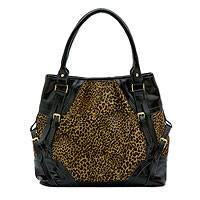 Leather shoulder bag, 'Leopard Chic' - Black Patent Leather on Leopard Print Cowhide Shoulder Bag