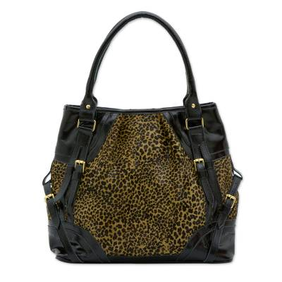 Black Patent Leather on Leopard Print Cowhide Shoulder Bag