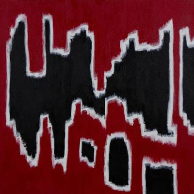'Vibration' - Brazilian Abstract Painting in Black and White on Red