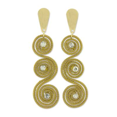 Gold Plated Brazilian Golden Grass and Rhinestone Earrings