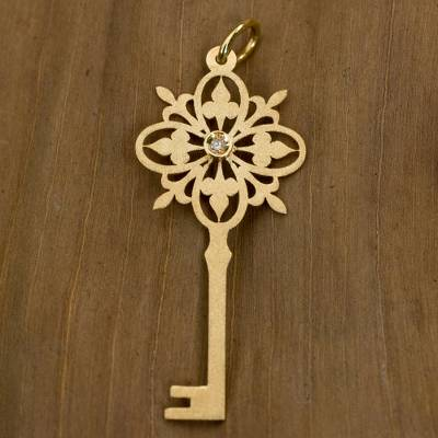 Diamond pendant, 'Golden Key' - Brazil Artisan Crafted Gold Pendant with a Diamond