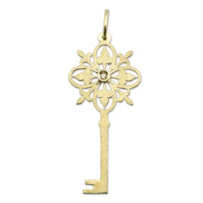 Brazil Artisan Crafted Gold Pendant with a Diamond