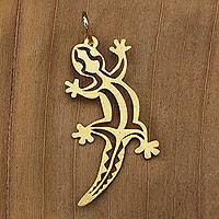 Gold pendant, 'Brazilian Gecko' - Artisan Crafted Gold Lizard Pendant from Brazil