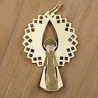 Diamond pendant, 'Golden Angel Raphael' (1.2 inches) - Gold and Diamond Artisan Crafted Angel Pendant from Brazil