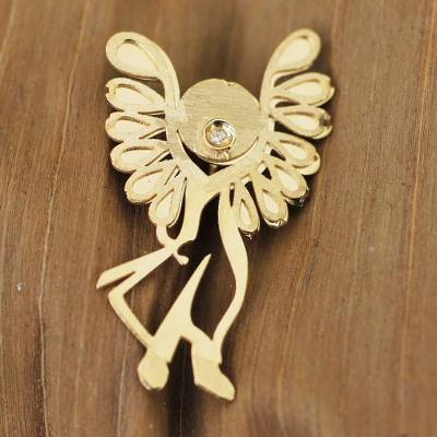 18k gold and diamond pendant, 'Michael the Archangel' - Brazil Artisan Crafted Gold Pendant with a Diamond