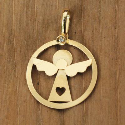 Diamond pendant, 'Loving Angel' - Diamond Chip 18k Gold Handcrafted Angel Pendant