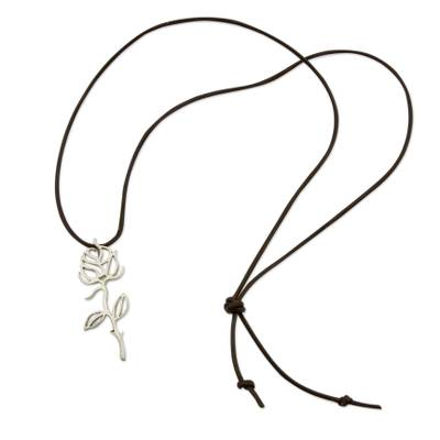 Sterling silver and leather pendant necklace, 'Shining Rose' - Leather and Sterling Silver Silhouette Flower Necklace