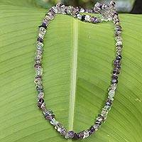 Fluorite beaded long necklace, 'Nuanced Color'