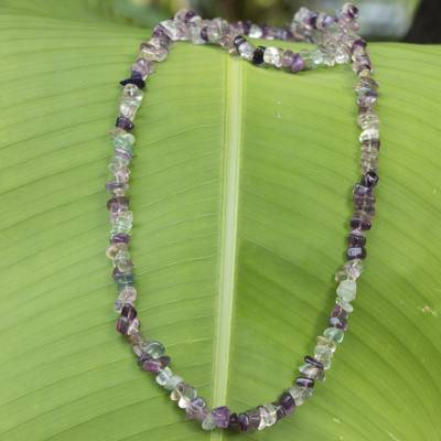 Fluorite beaded long necklace, 'Nuanced Color' - Artisan Crafted Brazilian Fluorite Beaded Necklace