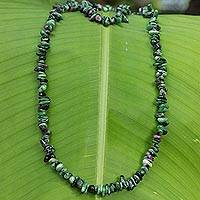 Zoisite beaded necklace, 'Amazon Forests' - Handcrafted Zoisite Beaded Necklace