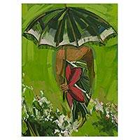 'Parasol I' - Original Signed Brazilian Woman's Portrait
