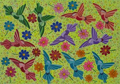 'Hummingbird Encounter III' - Hummingbirds and Flowers Signed Brazilian Painting
