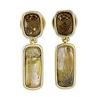 Gold plated rutile quartz and citrine dangle earrings, 'Brazilian Splendor' - Gold Plated Earrings with Rutile Quartz and Citrine