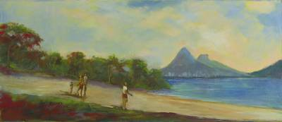 'Rodrigo de Freitas Lagoon' - Romantic Impressionist Landscape Painting from Brazil