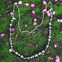 Cultured pearl beaded necklace, 'Luminous Black Strand' - Black Cultured Pearl Silver Handcrafted Brazilian Necklace