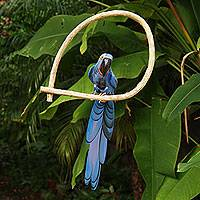 Wood sculpture, 'Blue Brazilian Macaw' - Hand Carved and Painted Bird Theme Brazil Wood Sculpture