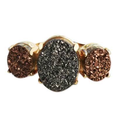 3 Stone Brazilian Drusy Agate Ring Bathed in 18k Gold
