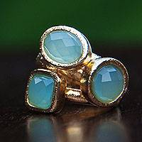 Gold plated agate stacking rings, 'Azure Light' (set of 3) - 3 Hand Crafted Gold Plated Brazilian Blue Agate Rings (Set)