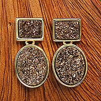 Gold plated drusy agate dangle earrings, 'Bronze Geometry' - Gold Plated Dangle Earrings with Square and Oval Drusies