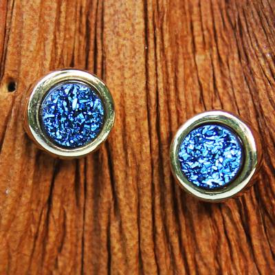Brazilian drusy agate stud earrings, 'Blue Sparkle' - Gold Plated Blue Brazilian Drusy Stud Earrings