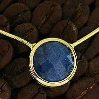 Gold plated quartz pendant necklace, 'Noronha Ocean' - Faceted Blue Quartz Gold Plated Necklace