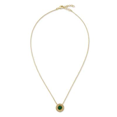 Brazil Handcrafted Gold Plated Green Agate Necklace with CZ