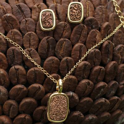 Gold plated drusy agate jewelry set, 'Bronze Windows' - Jewelry Set Bathed in 18 k Gold with Brazilian Drusy Agates