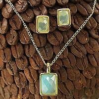 Gold plated agate jewelry set, 'Azure Facets' - Unique Gold Plated Agate Necklace and Earrings Jewelry Set