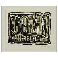 'Demolition' - Brazil Signed Woodcut Print in Black and Ochre