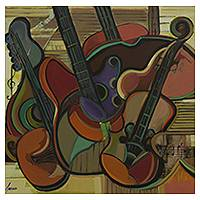 'Remembering Great Moments' - Cubist Musical Still Life Painting with Stringed Instruments