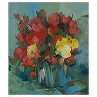 'Ruby' - Red Flowers Painting Original Still Life Signed Fine Art