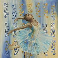 'Ballet' - Modern Classic Ballet Painting in Pastel Blue