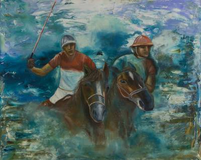 'Polo at Gavea' - Original Signed Brazilian Painting of Polo Players
