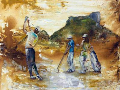 'Gavea Golf Club' - Mixed Media Painting of a Rio de Janeiro Golf Club