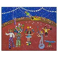 'The Circus' - Signed Naif Circus Painting from Brazil