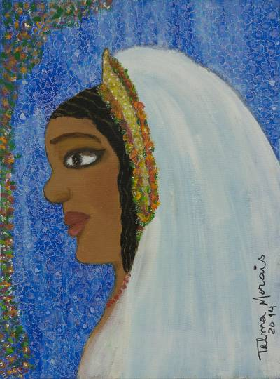 'Bride' - Signed Naif Portrait of a Young Brazilian Bride