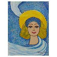 'Forget-me-not Madonna' - Divine Lady Signed Painting in Brazilian Naif Art Style