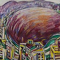 'Crimson Lake' - Expressionist Rio de Janeiro Scene in Oil on Canvas
