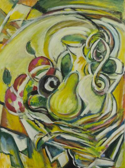 'Apple and Pears' - Brazil Original Cubist Still Life Painting