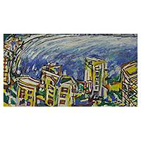 'Urban Landscape' - Original Painting of Rio and the Rodrigo de Freitas Lagoon